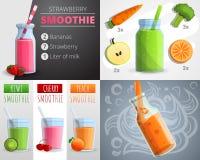 De reeks van de fruit smoothie banner, beeldverhaalstijl stock illustratie