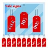 De reeks van geïsoleerde rode iscountprijs etiketteert markeringen op witte achtergrond met venster van de beeldverhaal het vlakk vector illustratie