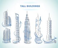 De reeks van gebouwenpictogrammen moderne wolkenkrabbers Royalty-vrije Stock Foto