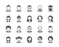 De reeks van gebruikersgezichten vlakke vectorpictogrammen Royalty-vrije Stock Fotografie