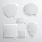De reeks van glastoespraak borrelt wolken en pictogrammen Stock Afbeeldingen
