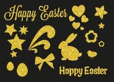 De reeks van Gouden schittert Pasen-Decoratie Stock Afbeelding