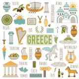 De reeks van Griekenland elementen Stock Afbeelding
