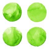 De reeks van groene die waterverfhand schilderde cirkel op wit wordt geïsoleerd Illustratie voor artistiek ontwerp Ronde vlekken, vector illustratie