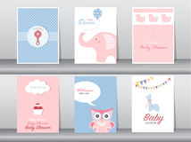 De reeks van groet en uitnodigingskaart, verjaardag, vakantie, Kerstmis, dier, kat, olifant, hond, draagt, beeldverhaal, illustra Stock Afbeeldingen