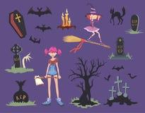De reeks van Halloween Meisje met bijl, zwarte kat, heks op een bezem, grafzerken en andere Halloween-symbolen Vector illustratie Stock Afbeeldingen