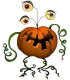 De reeks van Halloween - pompoenmonster Stock Afbeeldingen