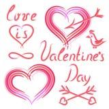 De reeks van hand trekt elementen op de Dag van Valentine Stock Afbeeldingen
