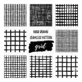 De reeks van Hand trekt het zwart-witte naadloze patroon van het borstelnet Abstracte zwart-wit controleachtergrond met de kruisi vector illustratie