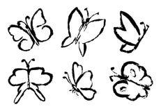 De reeks van Hand trekt vlinder royalty-vrije illustratie