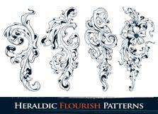 De reeks van heraldisch bloeit patronen Royalty-vrije Stock Foto's