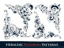 De reeks van heraldisch bloeit patronen Stock Foto
