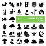 De reeks van het aard glyph pictogram, de inzameling van milieusymbolen, vectorschetsen, embleemillustraties, behoud ondertekent  stock illustratie