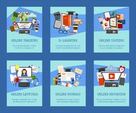 De reeks van het afstandsonderwijs kaarten, banners Het online cursussen, webinar, ondervragen, e-leert, leerprogramma's en lezin stock illustratie