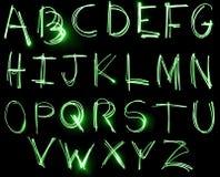 De reeks van het Alfabet van het neon Stock Afbeeldingen