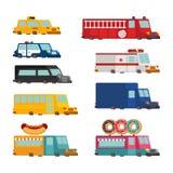 De reeks van het autobeeldverhaal Brandmotor en politiewagen ziekenwagen en taxi Stock Foto's