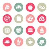 De reeks van het bakkerijpictogram Stock Foto's