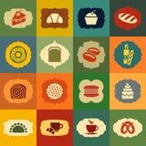 De reeks van het bakkerijpictogram Uitstekende stijletiketten Stock Foto's
