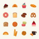 De reeks van het bakkerijpictogram Vector illustratie Royalty-vrije Stock Foto's