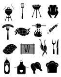 De reeks van het barbecuepictogram Stock Afbeeldingen