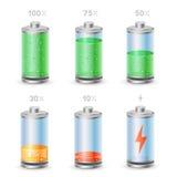 De reeks van het batterijpictogram Stock Foto's