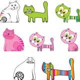 De reeks van het beeldverhaal katten vector illustratie