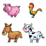 De reeks van het beeldverhaal landbouwbedrijfdieren Stock Fotografie