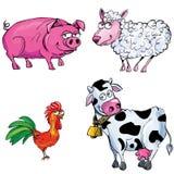 De reeks van het beeldverhaal landbouwbedrijfdieren Royalty-vrije Stock Fotografie