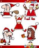 De Reeks van het Beeldverhaal van de kerstman en van de Thema's van Kerstmis Royalty-vrije Stock Foto's