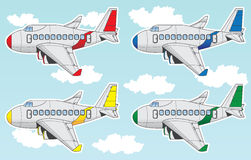De reeks van het beeldverhaallijnvliegtuig royalty-vrije illustratie