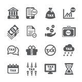 De reeks van het belastingspictogram royalty-vrije illustratie