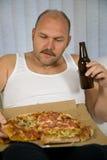 De reeks van het bier en van de pizza stock foto's