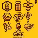 De reeks van het bijenembleem Stock Afbeelding