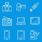 De reeks van het blauwdrukpictogram apparaat Royalty-vrije Stock Foto