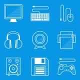 De reeks van het blauwdrukpictogram Computer Royalty-vrije Stock Foto