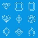 De reeks van het blauwdrukpictogram Diamant Royalty-vrije Stock Fotografie