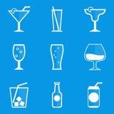 De reeks van het blauwdrukpictogram drank cocktail Royalty-vrije Stock Afbeelding