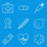 De reeks van het blauwdrukpictogram Medisch Stock Afbeelding