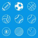 De reeks van het blauwdrukpictogram Sportbal Stock Afbeelding