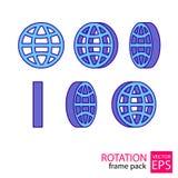 De reeks van het bol roterende pictogram kaders Stock Afbeelding