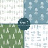 De reeks van het bosbomenpatroon Stock Afbeelding