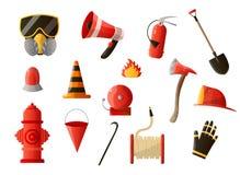 De reeks van het brandbeveiligingmateriaal op witte achtergrond wordt geïsoleerd die royalty-vrije illustratie