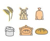 De Reeks van het broodbaksel pictogrammen Vlakke tekensproductie van brood Tarwe Stock Foto