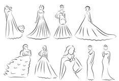 De reeks van het bruidsilhouet, Schetsbruid, de bruid in een mooie huwelijkskleding, vector Royalty-vrije Stock Afbeelding