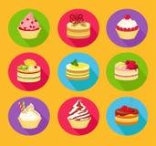 De reeks van het cakespictogram Royalty-vrije Stock Foto