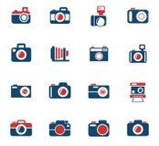 De reeks van het camerapictogram Stock Foto