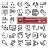 De reeks van het communicatielijnpictogram, de inzameling van gesprekssymbolen, vectorschetsen, embleemillustraties, bericht onde vector illustratie