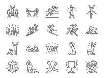 De reeks van het de concurrentiepictogram Inbegrepen pictogrammen zoals tegenover, concurrenten, concurrerend, rivaliserend spel, Royalty-vrije Stock Afbeelding