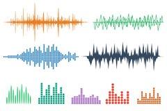 De Reeks van het correcte Golfpictogram Geplaatste muziek soundwave pictogrammen Maak audioa gelijk Stock Foto's
