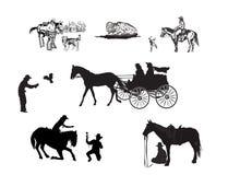 De reeks van het cowboysilhouet stock illustratie